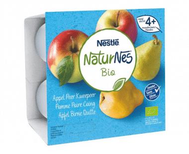 Nestlé NaturNes Bio Appel Peer Kweepeer vanaf 4+ Maanden 4x90g Hopr online supermarkt