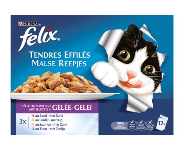 Felix Kat malse reepjes met vlees en vis in gelei 12x100g Hopr online supermarkt