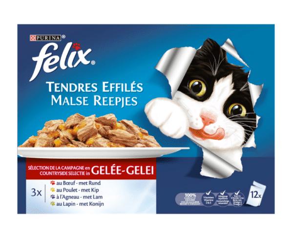 Felix Kat malse reepjes met vlees in gelei 12x100g Hopr online supermarkt