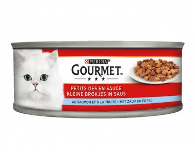 Gourmet Multi Serve Kat kleine brokjes met zalm en forel 195g Hopr online supermarkt