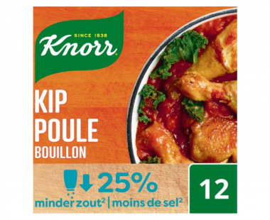 Knorr Bouillon met laag zoutgehalte Kip 108g Hopr online supermarkt
