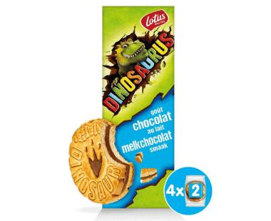 Lotus Dinosaurus gevuld met melkchocolade 4x2stuks Hopr online supermarkt